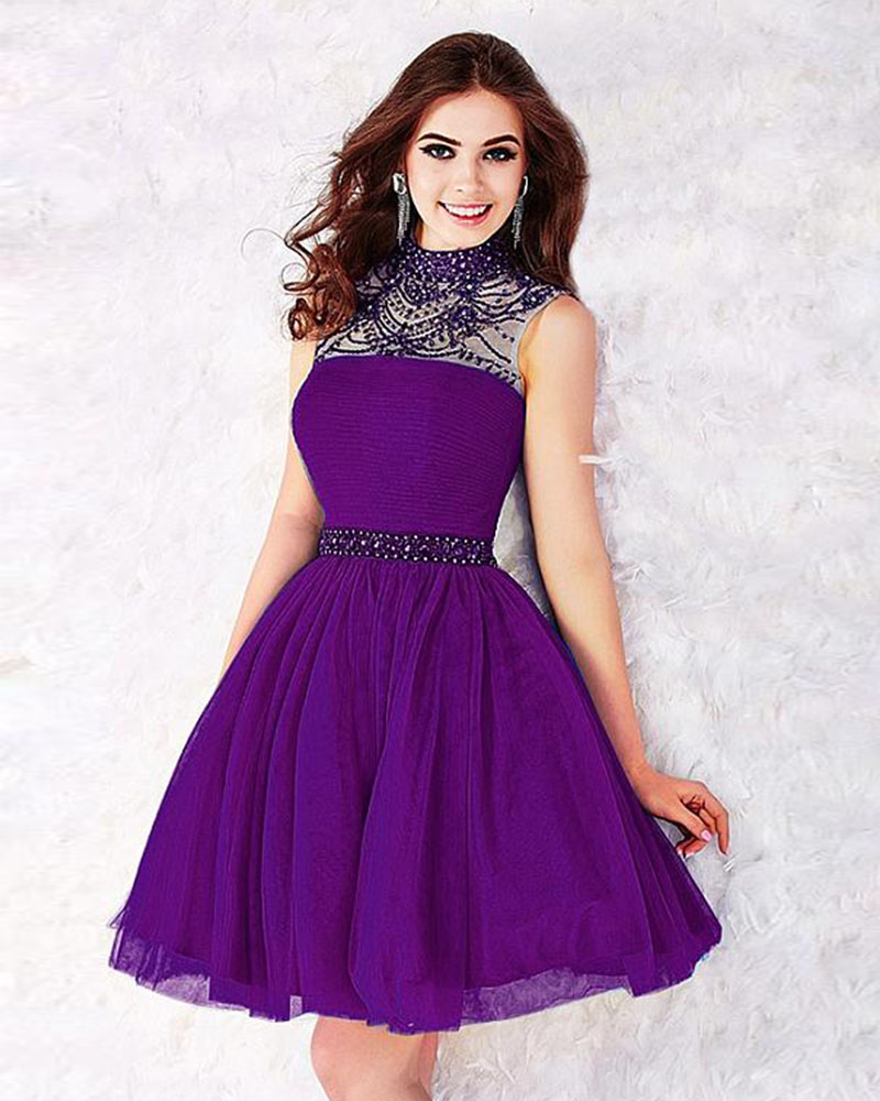Short Purple Homecoming Dresses