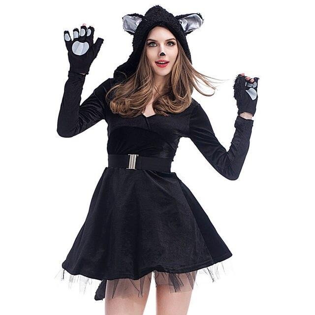 Carnaval de Halloween Gato Negro Para Mujer Adultos Mono Cosplay Vestido de  Traje de Falda 0f94e9e774a