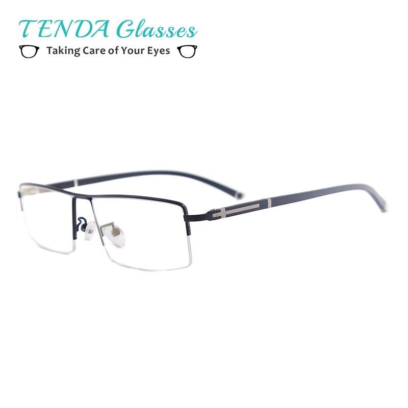 Homens Óculos de Armação de Prescrição Óculos de Meia Aro de Metal  Retangular Para Lentes Ópticas b4c956ac82
