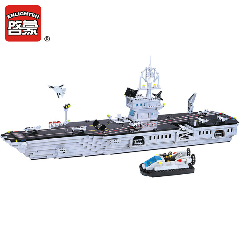 Enlighten 1000Pcs Military Navy Carrier Building Blocks Sets Model DIY Bricks Educational Toys for Children enlighten building blocks military submarine model building blocks 382 pcs diy bricks educational playmobil toys for children