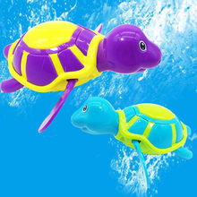 Baby shower bath toys cartoon cute turtle classic infant toy children winding watch chain swimming turtle(China)