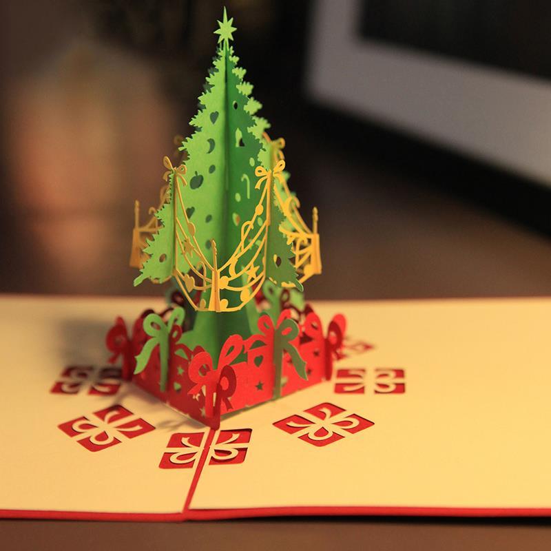 2 unids/lote Pop-Up de Tarjetas de Felicitación de Navidad Árbol De Navidad De Diseño Hueco 3D Kirigami Tarjetas Postales Festival Party Celebration HX533