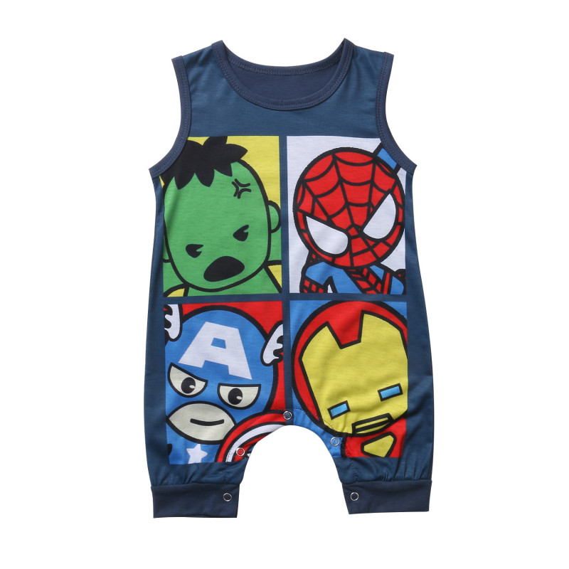 2017 Summer Cartoon Casual Newborn Infant Baby Boys Girls Print   Romper   Sleeveless Jumpsuit Clothing Leisure Kids Outfit