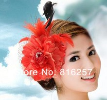 Free shipping many color high quality silk flower fascinator font b hats b font bridal hair