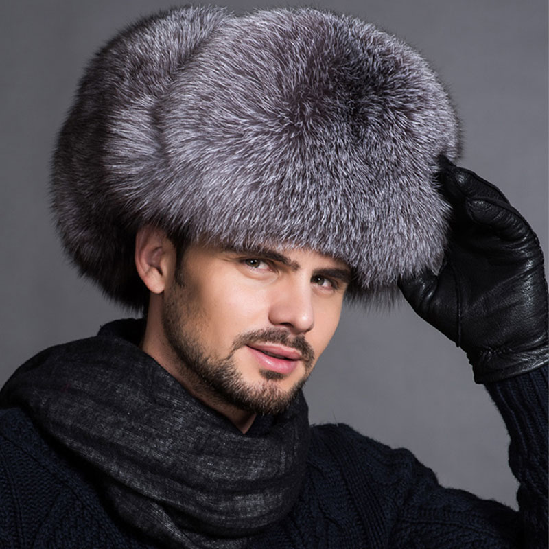 Men Raccoon Fur Hats Fox Fur Leather Bomber Caps Silver Fox Fur Male Lei Feng Bomber Hat For Middle-Aged  Leather Ear Flaps Hats