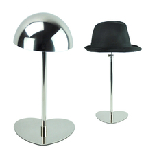 5pcs Mirror Polish Metal Hat Display Stand Stainless Steel Hat Cap Display Rack Holder Free Shipping By DHL BN-1128