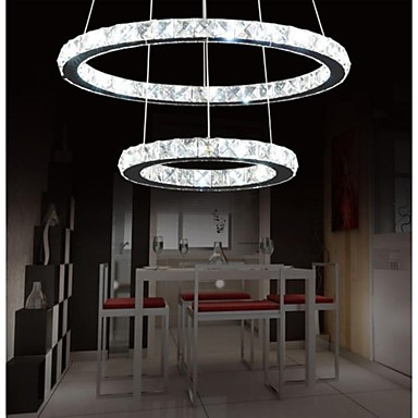 70CM Luminaire Modern LED Crystal Pendant Light Lamp For Dinning Room with Two Rings,Lustres De Cristal E Pendentes