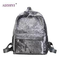 Women Velvet Backpack Mini Women Backpack Mochila Veludo Schoolbag Zipper Small Sack Bags Fashion Back Ruckasck
