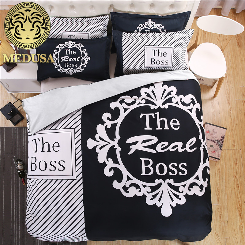 the boss black and white his/her side bedding set duvet cover bed sheet pillow case king queen size bed linen set 3/4pcs