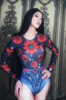 Women New Rose Flowers Pattern Printed Sexy Bodysuit Crystals Shiny Rhinestone Jumpsuit Singer Dancer Stage Costume Party Show