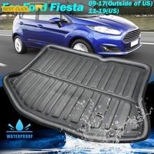 Revestimiento para maletero de coche, para Ford Fiesta 2009, 2010, 2011, 2012, 2013, 2014, 2015, Hatchback, esterilla trasera del maletero, bandeja de carga, alfombra de suelo