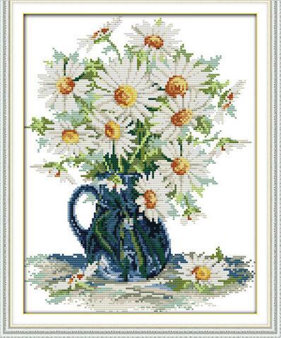 Дейзи ваза цветы Home Decor DIY живопись Счетный Печать на холсте DMC комплект 11CT 14CT DMS Рукоделие Вышивка крестом Комплекты