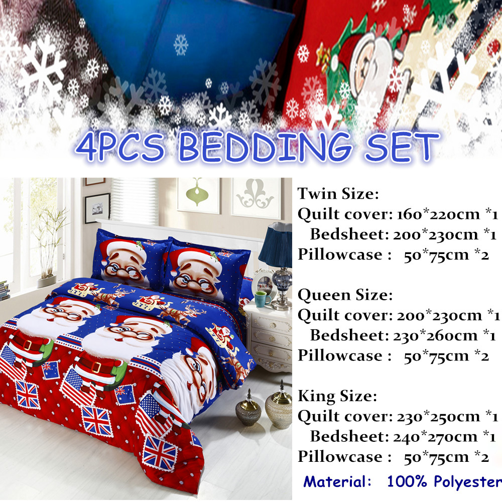 Great For Christmas, Set 4Pcs Christmas Santa Clause, 3D Bedding Set Duvet Cover Set,Sheet, Pillowcase, Sham Covers 39
