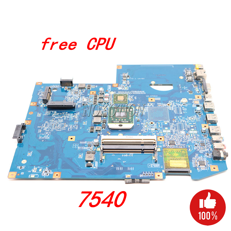 NOKOTION MBPJD01001 MBP.JD01.001 Main board For Acer aspire 7540 Laptop Motherboard 48.4FP02.011 Socket S1 ddr2 Free cpu la 5971p for lenovo g455 laptop motherboard hd 4250m ddr2 free cpu