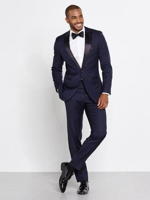 2016 Marinha Homens Azuis Ternos de Casamento Custom Made vestidos de Casamento Slim Fit Padrinho de casamento Melhor Homem do Terno Do Noivo Smoking Para Homens Jaqueta + calça + Arco