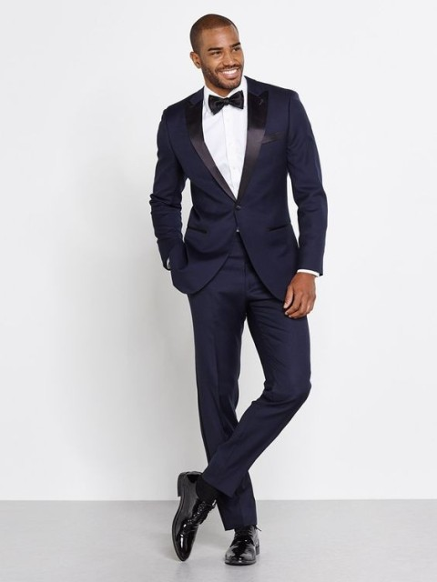 2017 Navy Blue Men Wedding Suits Custom Made Slim Fit Groom Tuxedos For Groomsman