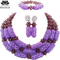 Majalia Luxury Nigeria Wedding African Beads Jewelry Set Dark purple and Lilac Crystal Necklace Bridal Jewelry Sets 1TY008
