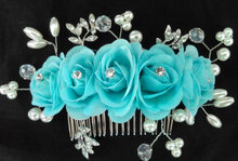 Свадебная Расческа для невесты красные бежевые Стразы с цветами