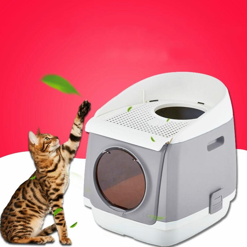 Bac à sable pour chat cabine en tissu double porte toilette pour chat entièrement fermée toilette pour chat pliable anti-éclaboussures tapis pour animaux de compagnie bac à litière pour chat