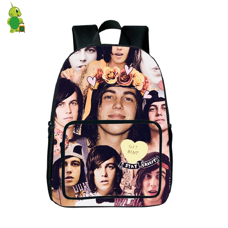Rock Star Kellin Quinn Overlay Printed Backpacks Women Men Daily Backpack School Bags For Teenagers Students Book Bags