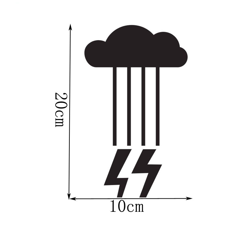 3540f5fe Забавные Creative Дизайн погоду молнии облако настенный выключатель Стикеры  виниловые наклейки DIY Съемный гнездо украшения Водонепроницаемый