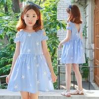 Striped Bow Children Girls Princess Dresses Summer 2018 New Cotton Stars Blue Kids Dresses For Girls