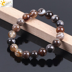 Image 4 - CSJA Natural Round Gem Stone Agates Onyx Men Bracelets Bangle 10mm Brown Stripe Ethnic Rosary Energy Beads Prayer Wristband F113