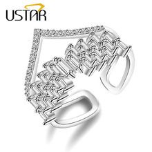 USTAR NEW V word Crystals wedding Rings for women AAA Zircon Double layer finger ring female Jewelry Opening adjustable size