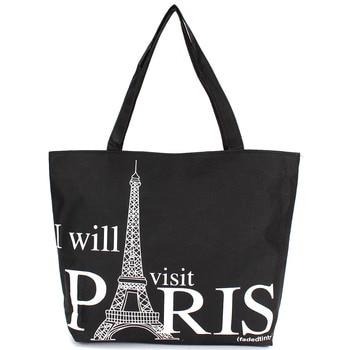 Large Space Women Canvas Handbag Zipper Shopping Shoulder Bag Paris Eiffel Tower Pattern Girls Beach Bookbag Casual Tote Fashion