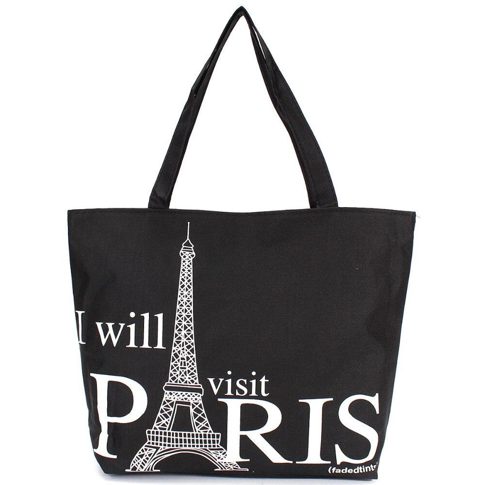 Grand espace femmes toile sac à main Zipper Shopping sac à bandoulière Paris tour Eiffel motif filles plage Bookbag décontracté fourre-tout mode