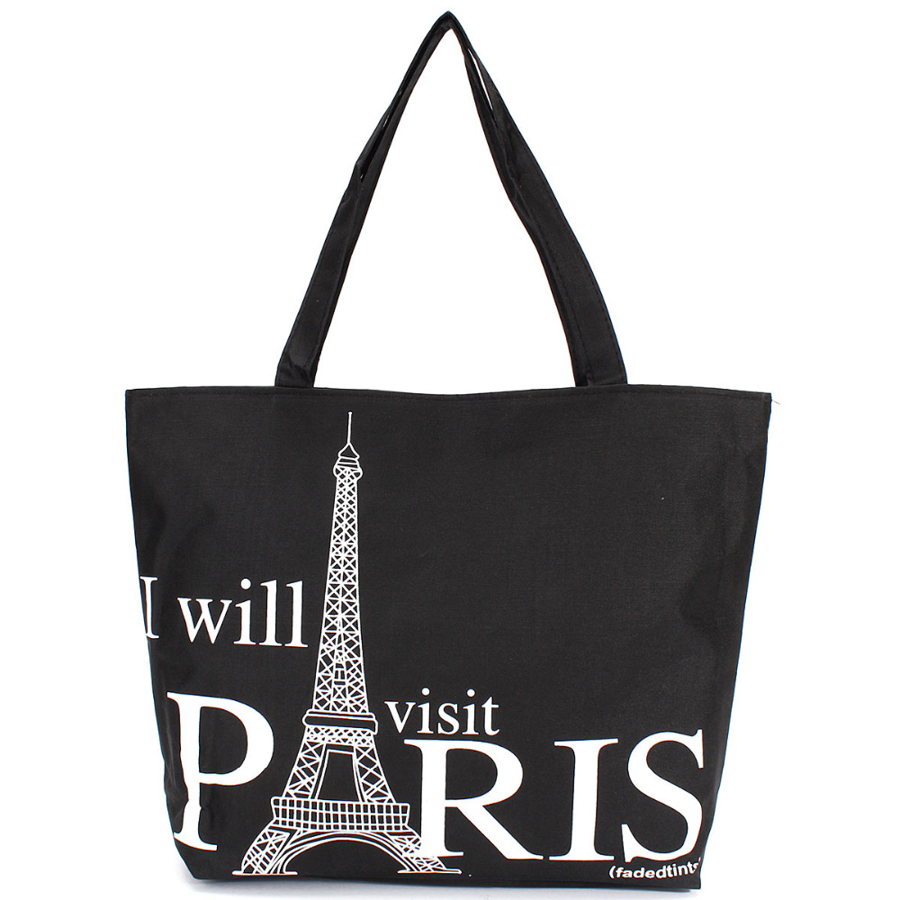 Large Space Women Canvas Handbag Zipper Shopping Shoulder Bag Paris Eiffel Tower Pattern Girls Beach Bookbag Casual Tote Fashion beach house paris