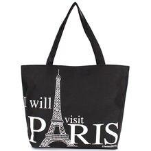 Espaço grande Bolsa Com Zíper Bolsa de Ombro Saco de Compras Das Mulheres Da Lona Paris Torre Eiffel Padrão Praia Meninas Bookbag Tote Ocasional Bolsa de Moda