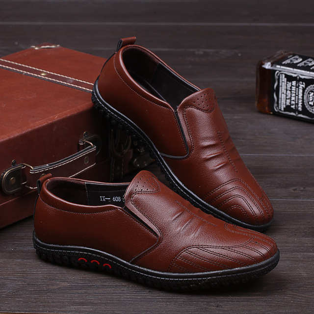 New 2017 Genuine Leather Men shoes Handmade Oxford Shoes For Men Flats Slip-on Men Casual Shoes Free Shipping
