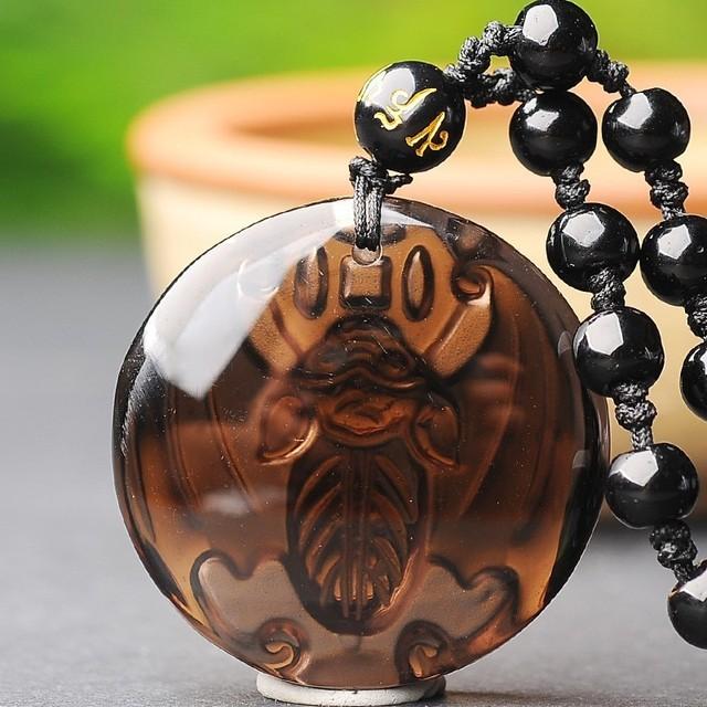 Obsidian Bat Necklace Amulet