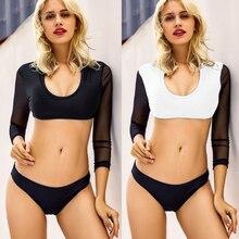 Купить с кэшбэком 2018 New Sexy Women Bikinis lace long Sleeve Swimsuit Push Up Bikini Set Biquinis Swimwear M38