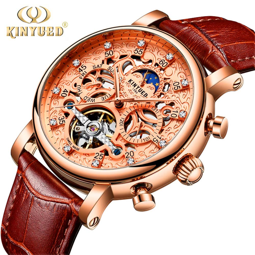 KINYUED 2018 Men Diamond Display Mens Watches Top Brand Luxury Genuine Leather Rose gold Skeleton Automatic Mechanical Watches baogela hollow skeleton automatic mechanical watches mens top brand luxury leather band gold business wristwatch