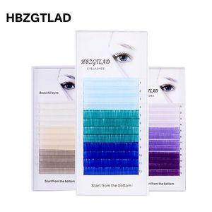 Image 1 - HBZGTLADใหม่C/D 0.07/0.1 มม.8 15 มม.ขนตาปลอมสีฟ้า + สีเขียว + สีม่วง + สีเทาขนตาแต่ละสีขนตาFauxขนตา
