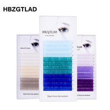 HBZGTLAD חדש C/D 0.07/0.1mm 8 15mm שווא ריסים כחול + ירוק + סגול + אפור ריס בודד בצבע ריסים מלאכותי ריס הרחבות