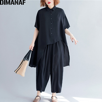 DIMANAF Plus Size Women Sets Summer Casual Female Lady Tops Shirts Loose Big Long Pants Suit Cotton Solid Black 2019
