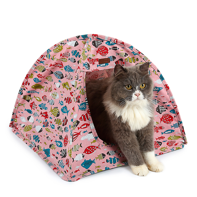 Portable Folding Pet Tent Cat House Bed Canvas Small Dog Cat Home Sleeping Cave with Warm Soft Removable Cushion Fish Printing