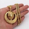 Vintage Gold Titanium Steel Lion Head Pendant Necklace 2016 Fashion Hip hop Franco Gold Chain Necklaces Pendants
