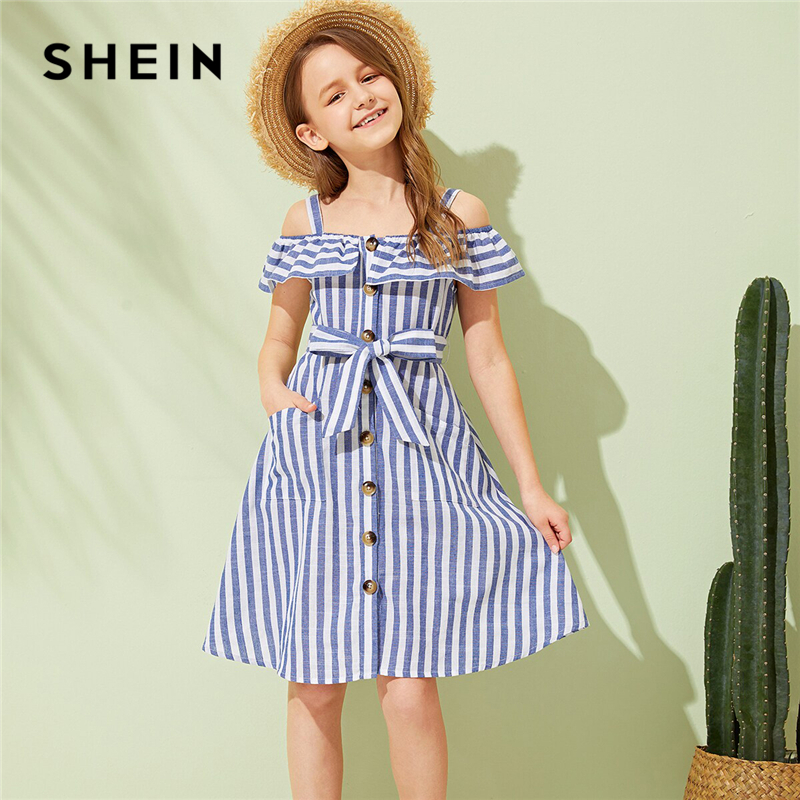 SHEIN Kiddie Blue Cold Shoulder Striped Boho Dress With Belt 2019 Summer Holiday Sleeveless Button Front Ruffle Dresses For KidsSHEIN Kiddie Blue Cold Shoulder Striped Boho Dress With Belt 2019 Summer Holiday Sleeveless Button Front Ruffle Dresses For Kids