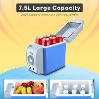 Portable 7.5L Cooling Warming Vehicle Fridge Freezer Mini Dual mode Car Refrigerators 12V Icebox Travel Home Refrigerator 3 hole