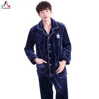JCVANKER Winter Warm Pajamas Set For Men Flannel Cotton Fabric Button Coat Pockets Fashion Male Sleepwear