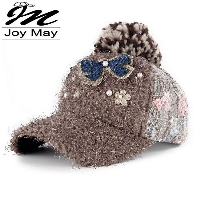 Joymay Новая мода зимняя шапка diamante Rhinestone теплая меховая шапка Досуг Поддельные волосы бейсболка для женщин девушка lady W079