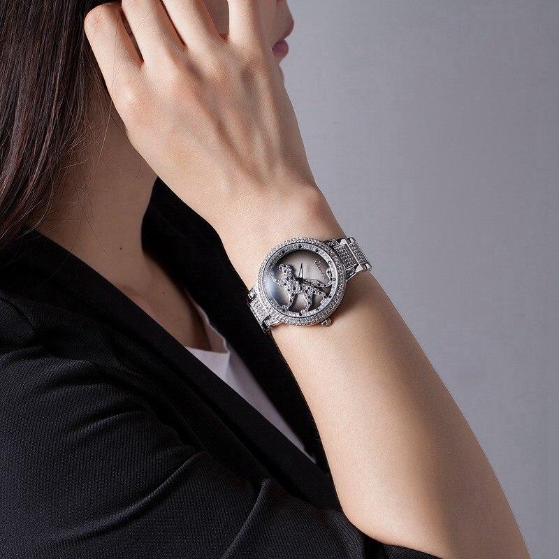 Femmes de luxe Bling strass filature léopard montres femmes mode à la mode montre à Quartz or Rose argent dames horloge cadeau - 5