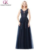 Evening Dresses Grace Karin Deep V Back Blue Grey Long Backless Evening Dress Tulle Formal Ball