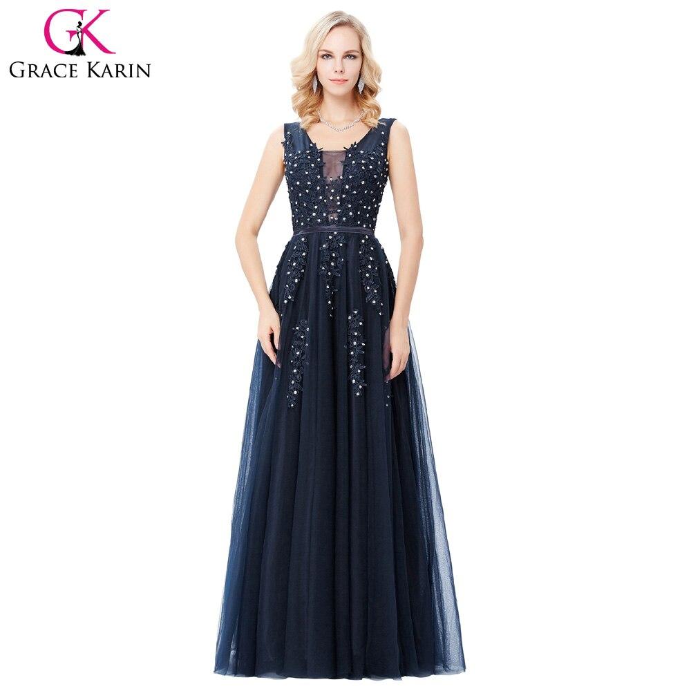 Evening Dresses Grace Karin Deep V-Back Blue Grey Long Backless ...
