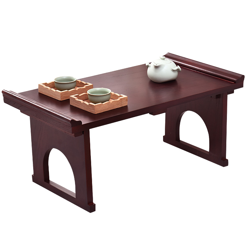 Asian Furniture Japanese Antique Console Table Folding Legs Rectangle 60cm Living Room Traditional Solid Wood Tray Table Wooden solid pine wood folding round table 90cm natural cherry finish living room furniture modern large low round coffee table design