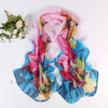 New Fast Fashion Ink Printed Chiffon Scarf Set Sunflower Summer Shawls Manufacturers For Anti Sai